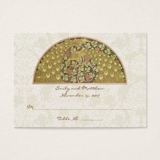 Cartões do lugar da mesa do damasco do vinhedo do