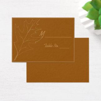 Cartões do lugar do casamento da folha do carvalho