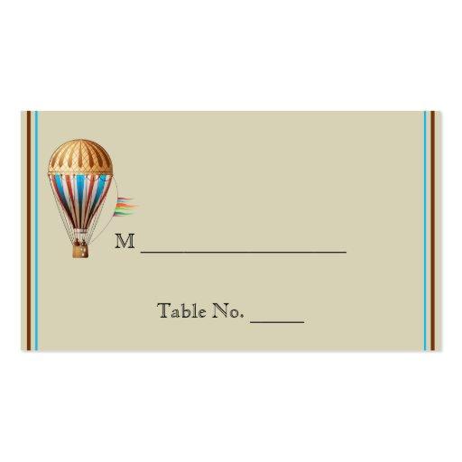 Cartões do lugar do casamento do balão de ar quent modelo de cartões de visita