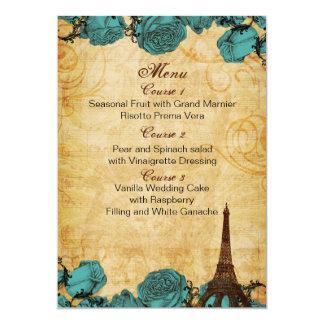 cartões do menu do casamento de Paris da torre