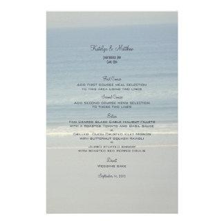 Cartões do menu do casamento do amor do oceano papelaria