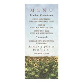 Cartões do menu do casamento do país da aguarela