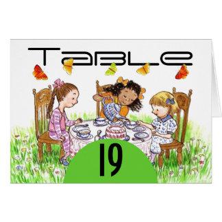 Cartões do número da mesa de chá das meninas da