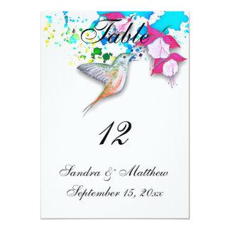 Cartões do número da mesa do casamento do colibri