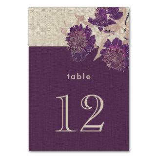 Cartões do número da mesa do casamento do design