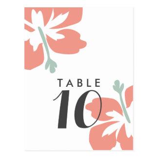 Cartões do número da mesa do casamento do hibiscus