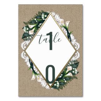 Cartões do número da mesa do casamento do laço de