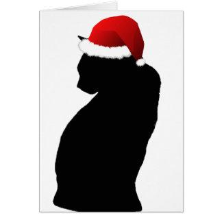 Cartões do papai noel do gato preto do Feliz Natal