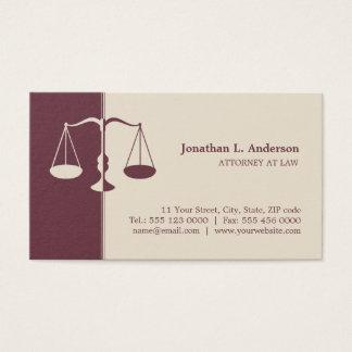 Cartões do profissional de Borgonha do advogado do