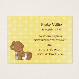 Cartões do registro do chá de fraldas do urso de