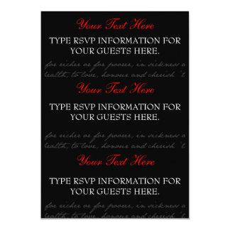 Cartões do rosa vermelho, preto, branco RSVP Convite 12.7 X 17.78cm