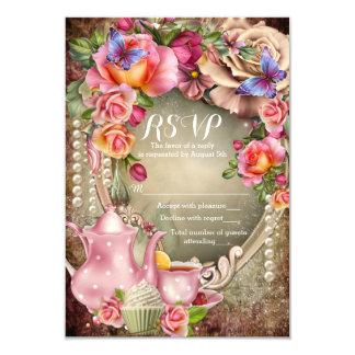 Cartões do tea party RSVP