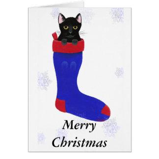 Cartões dos flocos de neve do gato da meia do