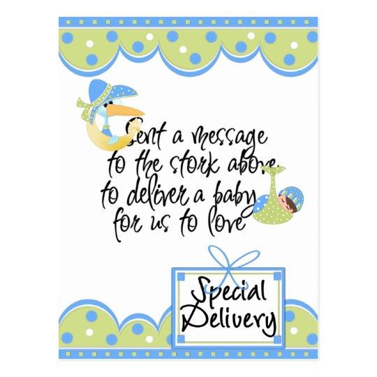 Cartões e etiquetas do bebé da entrega especial da cartão postal