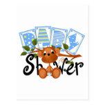 Cartões e etiquetas do chá de fraldas do menino do cartão postal