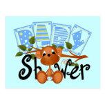 Cartões e etiquetas do chá de fraldas do menino do cartao postal