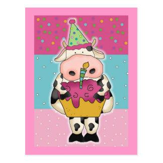 Cartões e porte postal de aniversário da vaca