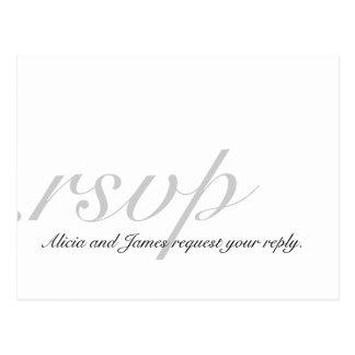 Cartões elegantes de RSVP para o cinza branco dos