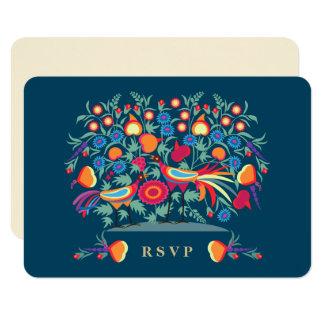 Cartões elegantes do design RSVP da arte popular