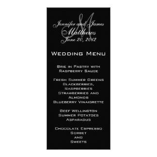 Cartões elegantes do menu do casamento do monogram