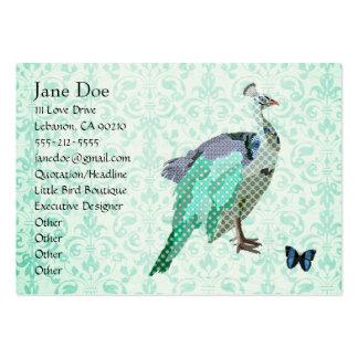 Cartões elegantes pintados do damasco do pavão cartão de visita grande