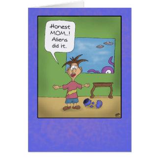Cartões engraçados do dia das mães: Os aliens