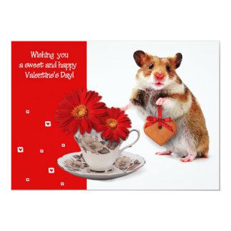 Cartões engraçados do dia dos namorados do hamster convite 12.7 x 17.78cm