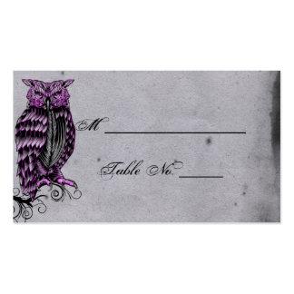 Cartões finos do lugar do casamento da coruja cartão de visita