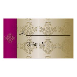 Cartões finos do lugar do casamento do damasco do cartão de visita