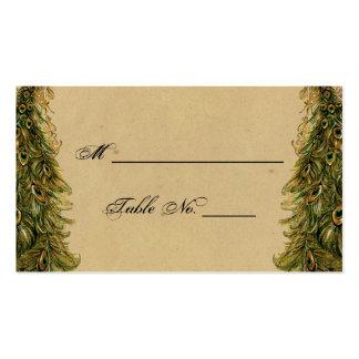 Cartões finos do lugar do casamento do pavão cartão de visita
