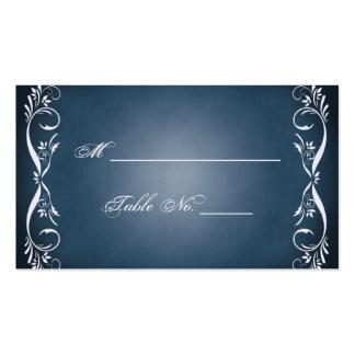 Cartões finos florais azuis da meia-noite do lugar cartões de visitas