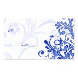 Cartões florais azuis & brancos do lugar ou da esc modelo cartão de visita