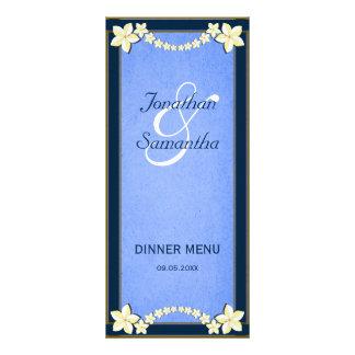 Cartões florais azuis rústicos do menu do comensal 10.16 x 22.86cm panfleto