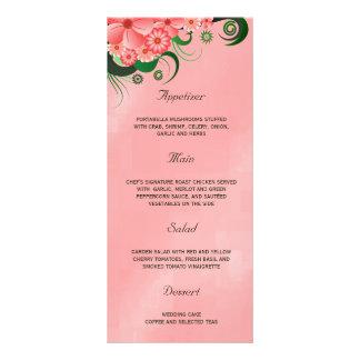 Cartões florais cor-de-rosa do menu do comensal de 10.16 x 22.86cm panfleto
