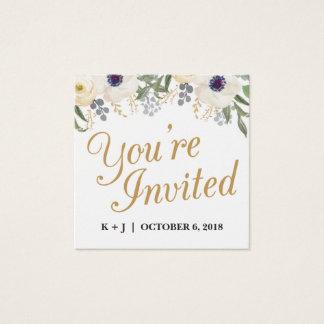 Cartões florais da placa conhecida do convite do