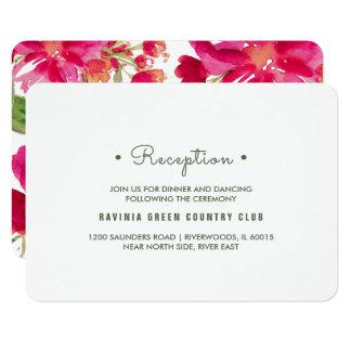 Cartões florais da recepção de casamento da