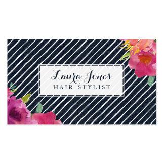 Cartões florais & das listras do cabeleireiro da cartão de visita