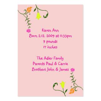 Cartões florais do anúncio do nascimento cartão de visita grande