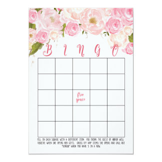 Cartões florais do Bingo do chá de panela