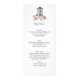 Cartões florais do menu da aguarela rústica da