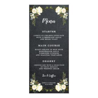 cartões florais do menu do casamento do giz do