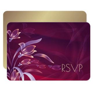 Cartões florais elegantes do design RSVP do ouro