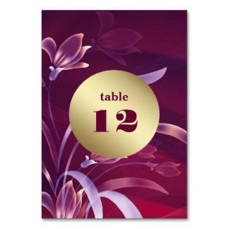 Cartões florais elegantes do número da mesa do