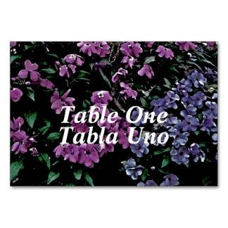 Cartões florais inglês-espanhol da mesa