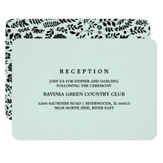 Cartões florais pretos da recepção de casamento da