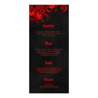 Cartões florais pretos e vermelhos do menu do 10.16 x 22.86cm panfleto