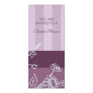 Cartões florais roxos do chá de panela convite 10.16 x 23.49cm