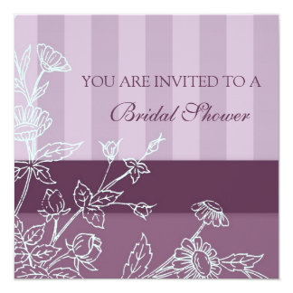 Cartões florais roxos do chá de panela convite quadrado 13.35 x 13.35cm