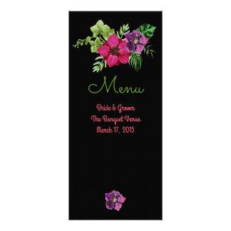 Cartões florais verdes roxos do menu do casamento
