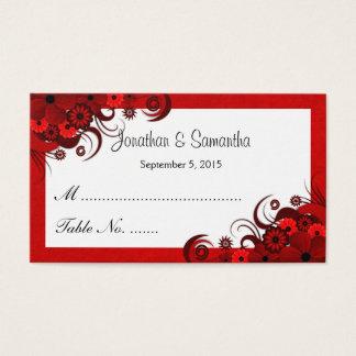 Cartões florais vermelhos e brancos do lugar da